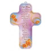 "Hail Mary Prayer English Wood Laminated Cross cm.13x9 - 5""x 31/2"""