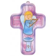"Girl Guardian Angel Communion Wood Laminated Cross cm.13x9 - 5""x 31/2"""