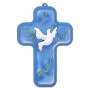 "Holy Spirit Blue Wood Laminated Cross cm.13x9 - 5""x 31/2"""