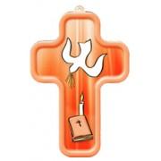 "Holy Spirit Red Wood Laminated Cross cm.13x9 - 5""x 31/2"""