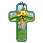 "Jesus and Children Wood Laminated Cross cm.13x9 - 5""x 31/2"""