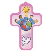 "Children of the World Pink Wood Laminated Cross cm.13x9 - 5""x 31/2"""