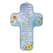 """Our Father Prayer English Wood Laminated Cross cm.13x9 - 5""""x 31/2"""""""