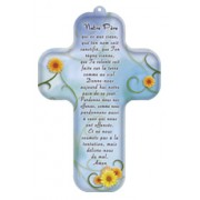 """Our Father Prayer French Wood Laminated Cross cm.13x9 - 5""""x 31/2"""""""