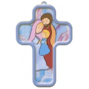 """Ste. Famille/ Holy Family Sign of the Cross French Wood Laminated Cross cm.13x9 - 5""""x 31/2"""""""