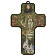 """Lourdes at the Grotto Wood Laminated Cross cm.13x9 - 5""""x 31/2"""""""