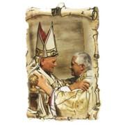 "Pope John Paul II / Pope Benedict Scroll Plaque cm.10x15 - 4""x6"""