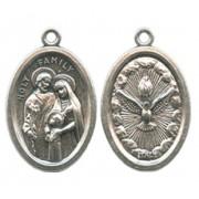 "Holy Family/ Holy Spirit Oval Oxidized Medal mm.22 - 7/8"""