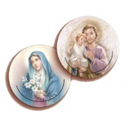 "Madonna/ St.Joseph 3D Bi-Dimensional Round Bookmark cm.7 - 2 3/4"""