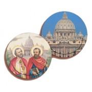 """San Pietro e Paolo 3D Bi-Dimensional Round Bookmark cm.7 - 2 3/4"""""""