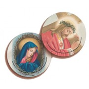 """Jesus and Our Lady of Sorrow 3D Bi-Dimensional Round Bookmark cm.7 - 2 3/4"""""""