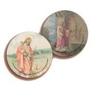 """Shepherd/ Jesus and the Door 3D Bi-Dimensional Round Bookmark cm.7 - 2 3/4"""""""