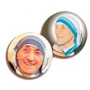 "Mother Theresa 3D Bi-Dimensional Round Bookmark cm.7 - 2 3/4"""