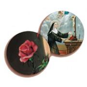 "St.Rita/ Rose 3D Bi-Dimensional Round Bookmark cm.7 - 2 3/4"""