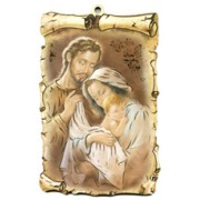 "Holy Family Scroll Plaque cm.10x15 - 4""x6"""