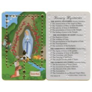 "Cartoon Lourdes Mysteries of the Rosary English PVC Card cm.5x8.5 - 2""x3 1/2"""