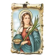 "St.Lucy Scroll Plaque cm.10x15 - 4""x6"""