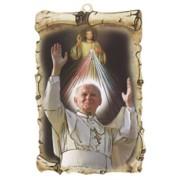 "Pope John Paul II / Divine Mercy Scroll Plaque cm.10x15 - 4""x6"""