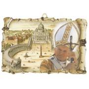 "Pope John Paul II / Vatican Scroll Plaque cm.10x15 - 4""x6"""