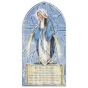 "Miraculous/ Hail Mary Prayer Plaque English cm.10x20 - 4""x8"""