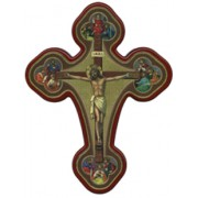 """Crucifixion (4 Evangelists) Solid Cross Red/Gold cm.20x27 x 8""""x10 1/2"""""""