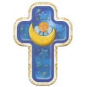 "Guardian Angel on Moon Blue Laquered Cross cm.10x14 - 4""x 5 1/2"""