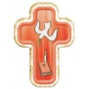 "Holy Spirit Red Laquered Cross cm.10x14 - 4""x 5 1/2"""