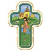 "Jesus with Children Laquered Cross cm.10x14 - 4""x5 1/2"""