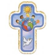 "Children of the World Blue Laquered Cross cm.10x14 - 4""x 5 1/2"""