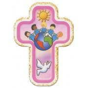 "Children of the World Pink Laquered Cross cm.10x14 - 4""x 5 1/2"""