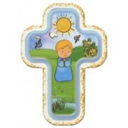 "Baby Boy Laquered Cross cm.10x14 - 4""x 5 1/2"""