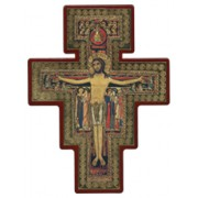 "Saint Damian Cross Laquered Red cm.14x19 - 5 1/2""x 7 1/2"""