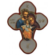 """Holy Family Solid Cross Red/Gold cm.20x27 - 8""""x10 1/2"""""""