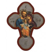 """Holy Family Solid Cross Red/Gold cm.12x16 - 5""""x 6 1/4"""""""