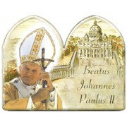 "Pope John Paul II Plaque and Stand cm.9x12 - 3 1/2"" x 4 3/4"""