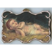 "Baby Jesus Square Plaque and Stand cm.9x14 - 3 1/2""x5 1/2"""