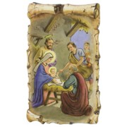 "Nativity Scroll Plaque and Stand cm.7x11 - 2 3/4""x 4 1/2"""